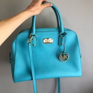 Blue Michael Kors Satchel Purse